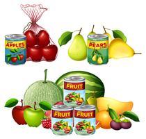 En uppsättning färsk och konserverad frukt