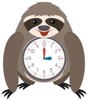 Sloth themed clock white background vector