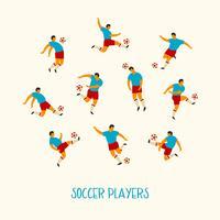Jugadores de futbol. Ilustración vectorial plana