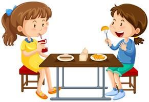 Two girls eating on picnic table