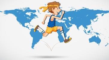 Een man loopt op wereldkaart