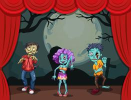 Three zombies on stage