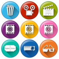 Icons with different movie images vector
