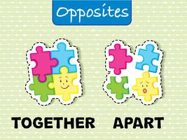 Opposite wordcard for together and apart