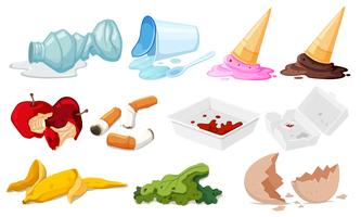 Set of junk on white background vector