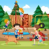 Park and playground scene vector
