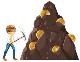 Ein Mann, der die Münze abbaut