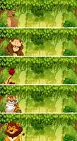 Set van dieren in jungle taferelen