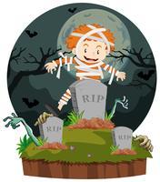 Boy dresses in mummy for halloween