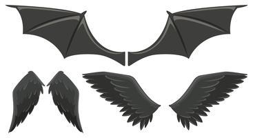 Tre uppsättningar svarta vingar