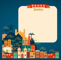 Fiesta latinoamericana, la fiesta de junio de Brasil. Ilustración vectorial