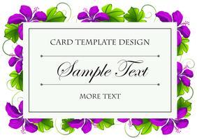 Modèle de carte avec des fleurs violettes
