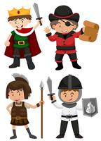 Four boys dressed in different characters