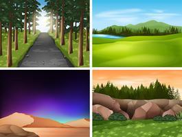 Quatro cenas da natureza com montanhas e campo