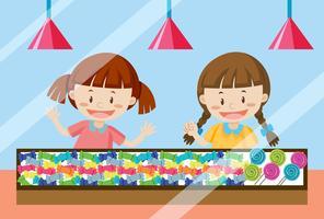 Crianças, comprando, doce doce