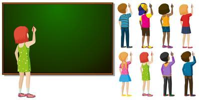 Blackboard och olika tecken i skriftlig handling