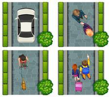 Luftszene von Menschen auf der Straße