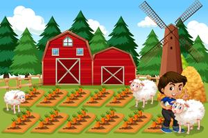 Een jongen op landbouwgrond