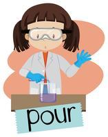 Um estudante na aula de ciências