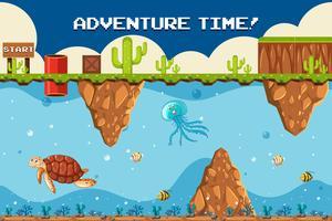 Jogo de aventura Tema subaquático no ponto de partida