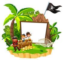 Bannière blanche pirate et enfant