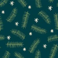 Christmas and Happy New Year seamless pattern with coniferous branches.