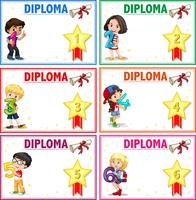 Set of diploma certificate template