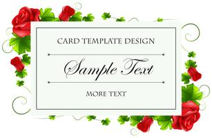 Card template with red rose
