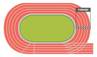 Aerial view of a running track