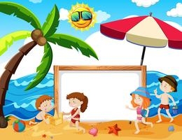 Childrean Playing at the Beach Banner vector