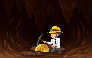 An Office Worker Mining Coin
