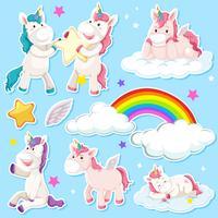 Ställ av unicorn klistermärke