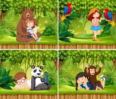 Set of children with animals scene