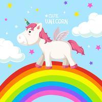 Un unicornio en plantilla de arcoiris