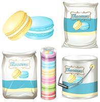 Macarons in verschillende verpakkingen