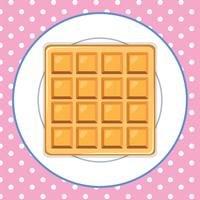 Waffle on Plate Pink Background