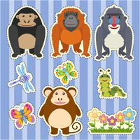 Stickerontwerp voor verschillende soorten apen