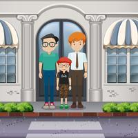 Família de adoção LGBT cruzando a estrada