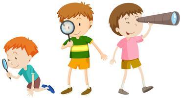 En uppsättning barn som forskar