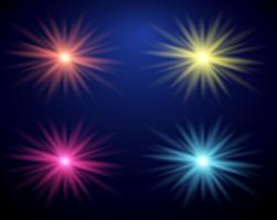 Quatro cores diferentes de feixe de luz