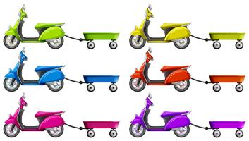Scooters and wagon in different colors
