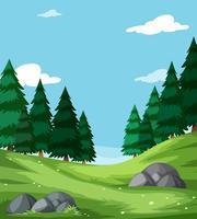 Flat nature green landscape
