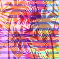 Seamless exotic pattern with tropical palm on geometric background in bright color.