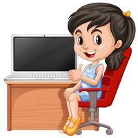 Menina, trabalhando, computador