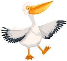 Pelican character on white background