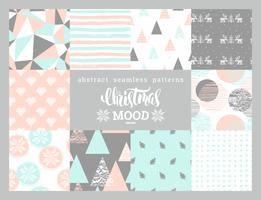 Christmas and New Year abstract geometric  ornamental seamless patterns.