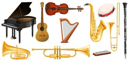 Different types of classical music instruments vector