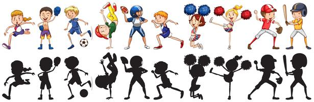 Set of athlete character