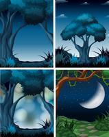 Set of dark forest scene