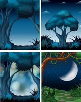 Conjunto de cena da floresta escura